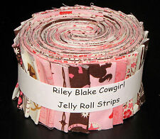 """Riley Blake Cowgirl Pink Jelly Roll 24 Cotton Fabric Strips 2.5"""" Wide X 44"""""""