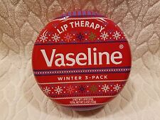Vaseline Lip Therapy***WINTER 3~PACK**RED Sweater LIMITED EDITION Metal Tin~~NEW