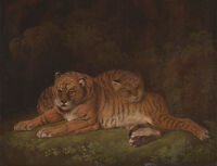 """perfect 36x24 oil painting handpainted on canvas """"tigers""""@NO4140"""