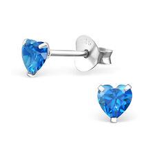 925 Sterling Silver Tiny London Blue Heart Loveheart CZ Kids Girl Stud Earrings
