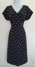 Womens Boden Black Blue Floral V Neck Vintage Style Fit And Flare Tea Dress 10.