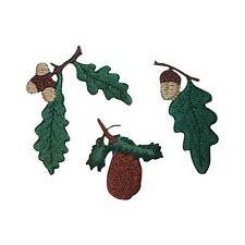 ID 1423ABC Set of 3 Oak Leaf With Acorn Patches Embroidered Iron On Applique