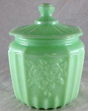 JADITE GREEN GLASS MAYFAIR OPEN ROSE FLOWERS JADEITE BISQUIT OR COOKIE JAR