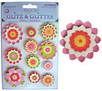 Karte Machen Sticker Bogen,Glitz Glitzer 11 Handgefertigt 3D Blumen Scrapbooking