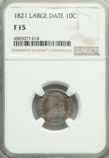 1821 Large Date Capped Bust Dime NGC F-15