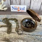 Antique Finish Brass Compass With Lid - Vintage Pocket Style - Nautical Necklace