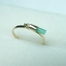 Colombian Emerald Ring Tubular .28 Cts 14K Y Gold Ring Size 7 US Jewelry Muzo