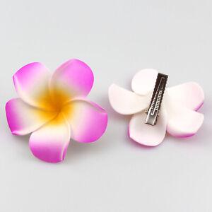 """30P 2"""" Hawaiian Plumeria Flower Foam Hair Clip Lot Accessories Travel Beach"""