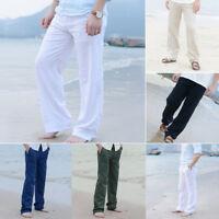 Men Linen Trousers Cotton Linen Trousers Loose Casual Pants Beach Straight Pants