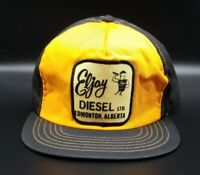 "Vintage Snapback Trucker Hat ""Eljay Diesel, LTD"" Rare Black And Yellow Snapback"