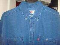 Levis Denim Long Sleeve Shirt - L - Blue