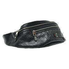 GUCCI Gg Guccissima Funda de Cintura Cuerpo Bolsa Cuero Negro Original sa2314