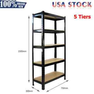 5 Tier Heavy Duty Boltless Metal Shelving Shelves Storage Shelf Garage Black