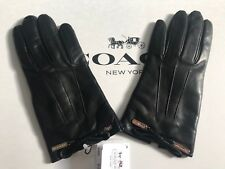 NWT COACH LEATHER BOW WINTER GLOVES 83865 Black SIZE 6 1/2