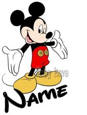 IRON ON TRANSFER MICKEY MOUSE PERSONALISED ANY NAME
