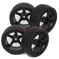 4PCS RC 1/10 On Road Car Foam Rubber Tyre Tires 3mm Offset Wheel Rims 9077-8004