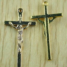 10pcs gold-tone cross charms findings h1478