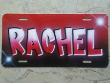 Airbrush License Plate Car Tag Red Black Add your Name