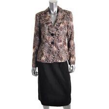 Le Suit Black Animal Print Lined 2PC Skirt Suit - New