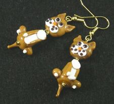 Lampwork Glass Kitty Cat Earrings Brown White Gold Hypoallergenic Wiggly fun!