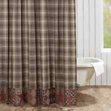 DAWSON STAR Patchwork Shower Curtain Plaid Brown Primitive Rustic Lodge Cabin