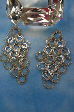 Cluster of silver plated  circles long dangle earrings