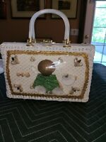 Princess Charming by Atlas Ivory Wicker Sea Shell Purse Lucite Handle Vintage