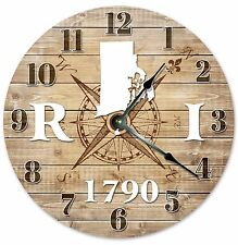 RHODE ISLAND Established in 1790 COMPASS CLOCK Large 10.5 inch Wall Clock