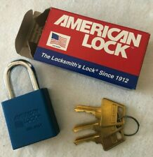 Free Ship! New American Lock 1205B -Blue Padlock- Keyed Different- 3 Keys