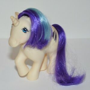 My Little Pony G1 Glory White Unicorn Purple & Blue Mane & Tail Shooting Stars