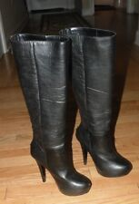 Womens Black Stiletto Heel Over The Calf Platform Boots   FREE SHIPPING INCLUDED