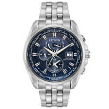 New Men's Citizen Eco Drive Atomic Radio Controlled AT9030-80L World Time Watch