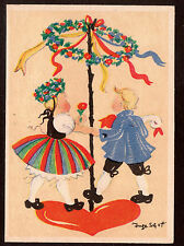 vintage Artist signed Inge Schott children Illustrator 2 postcards 4x6