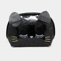 NEW~ Cute Black Glitter Eyelash Kitty Cat Face Zippered Makeup Travel Bag Pouch