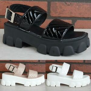 WOMENS LADIES ANKLE STRAP PLATFORM WEDGE STRAPPY GLADIATOR SANDALS SHOES SIZE