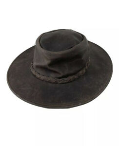 """Minnetonka """"The Fold Up""""Hat Brown Leather Snake Rattler Hat Sz Small"""