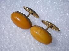 Vintage Russian Baltic Butterscotch Amber Gold Plated Cufflinks 7,2 gr.