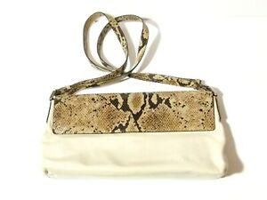 Vintage CERRUTI Cream Leather and Faux Snake Skin Bag Purse