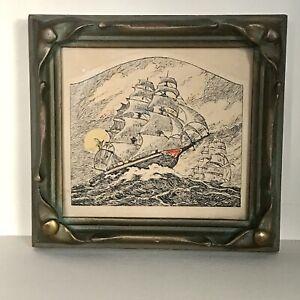 Nautical Antique miniature etching engraving of Ship Art Nuveau pie crust frame