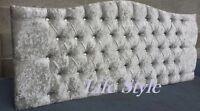 Crushed Velvet Dewsbury 26''High Diamond Headboard Silver,Cream,Black,Lavender