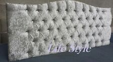 Top Quality Flat Studded Chenille Fabric Headboard in 26 Inches Height 4ft Pink