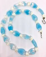 Baby Blue Striped Glass Beaded Necklace Mother of Pearl Beads Vintage Jewelry