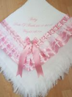beautiful PERSONALISED white/pink baby girls shawl **NEW**