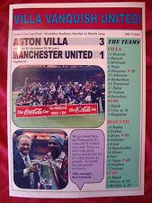 Aston Villa 3 Manchester United 1 - 1994 Coca-Cola Cup final - souvenir print