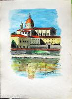 ✅Acquerello '900 su carta Watercolor-Veduta città Araba-firmato A.Bergamo (49)