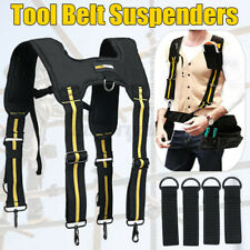 Padded Heavy Duty Work Tool Belt Braces Suspenders For Tool Pouch + 4 Loops