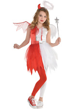 Child Devil Angel Heaven Hell Girls Halloween Kids Fancy Dress Costume 4-12 Yrs