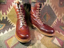 Vtg Sears Leather PlainToe Crepe Sole Lace Up Boots Size 11 D