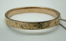 1920's Vintage Lovely 9 Carat Rose Gold Engraved Hinged Bangle