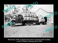 OLD LARGE HISTORIC PHOTO OF WANAARING NSW, LOADING WOOL AT SHEARING SHED c1940